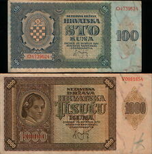Croatia set 2 banknotes 1941. 100 Kunas P-2 and 1000 Kunas P-4. VF/VF+