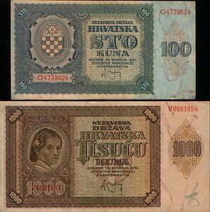 CROATIA 100 KUNA 1941 VF-XF  .....3pcs