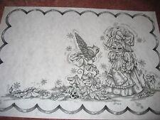 * Tri Chem 8516 8517 Little Girl Place Mat Flower Bird Watercan Picture Trichem