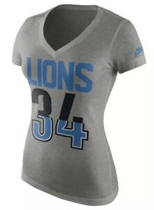 Nike Women's Detroit Lions Football Tri Blend V Neck Number Jersey Shirt Large L