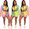 2 pcs set women colorful splicing tracksuit zipper up long sleeve trench & short