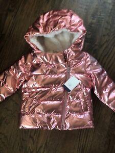 NWT Baby Gap girl pink metallic WINTER puffer coat fleece lining 18 24 month