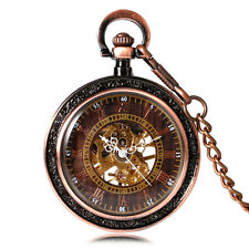 Luxury Red Bronze Open Face Roman Numeral Mechanical Hand Wind Pocket Watch Gift