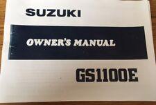 SUZUKI GSX 1100 E OWNERS MANUAL CATALOGUE 1979 paper bound copy.