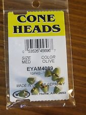 Wapsi Cone Heads Painted for Fly Tying coneheads, size Medium - Olive