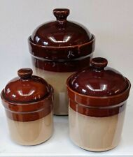 Sango Nova Brown 3 Piece Cannister Set #4913 With Lids Storage Containers