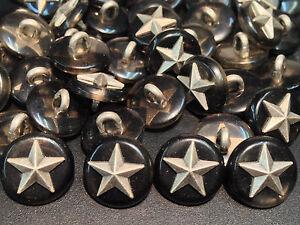 "13 Classic Military Star Buttons w/Imitation GreyTortoise Shell 15/mm 5/8"""