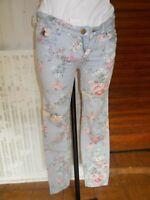 Pantalon TAILLE BASSE  SLIM bleu clair à fleurs SCOTCH  W25 L32 34/36 18AO29