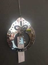 Christmas Bauble Tree Decoration Silver Metal Hanging