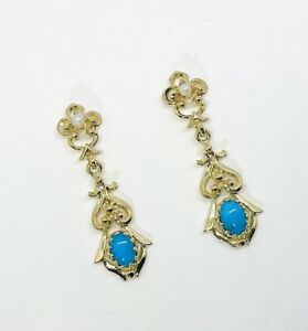 14K Solid Yellow Gold Genuine Turquoise & Seed Pearl Victorian Dangle Earrings.