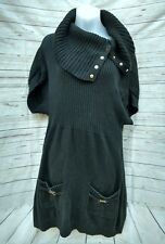 White House Black Market Womens Sweater Dress Sz Small Black S/S Pockets Cowl Nk