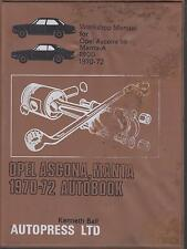 OPEL MANTA A COUPE 1.6 & 1.9 LITRE ( 1970 - 1972 ) OWNERS WORKSHOP MANUAL