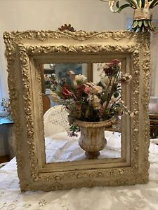 1880s ANTIQUE ORNATE WOOD GESSO FRAME 4 Levels LARGE 31x27 Old Cream Paint