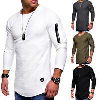 Herren Langarmshirt Longsleeve T-Shirt Rundhals Slim Fit Top Shirts Sweatshirt