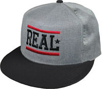 REAL - Embroidered Bar Logo - Snap Back Hat / Cap / Real Skateboard Co'