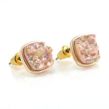 Druzy stud Earrings Black/Rose/Pink/Gold Women's Stud Earrings Fashion Jewelry