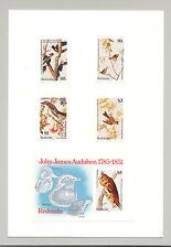 Redonda 1985 Audubon, Birds, Owls 4v & 1v S/S Imperf Proofs on Card