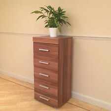 Walnut Effect Tall Boy Chest of 5 Drawers Bedroom Furniture - Narrow Slim Draw