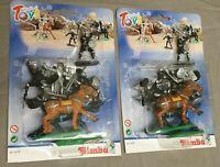 2 Pack Ritter Kunststoff Figuren inkl Pferde von Simba / Vintage Knights Moc Ovp