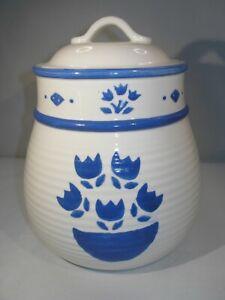 Large Blue & White Ceramic Cookie Jar w/Tulip design