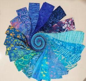 Batik 100% Cotton Fabric Jelly Roll 40 x 112cm x 6.35cm Blue Spectrum