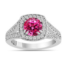 Pink Sapphire Engagement Ring With Diamonds 14K White Gold 1.71 Carat