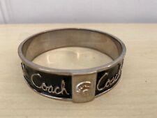Ladies Women's COACH Black & Silver Bangle Bracelet Jewelry