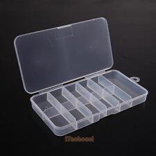 10 Grids Clear Plastic Empty Storage Case Box for False Nail Art Tips Gems Beads