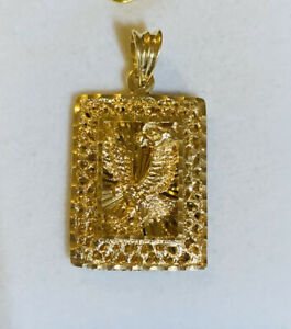 18k Solid Yellow Gold Rectangle Eagle Diamond Cut Pendent 6.95GM(629$