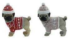 Pug Dog Xmas Figurine Ornament Set of 2 Approx 6x6cm