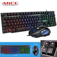 Gaming Tastatur Maus Set Beleuchtet 2400DPI LED RGB USB für PC Laptop PS4 Pro #1