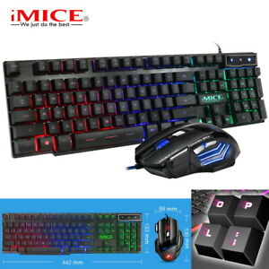 Gaming Tastatur Maus Set Beleuchtet 2400DPI LED RGB USB für PC Laptop PS4 Pro #1
