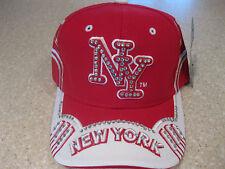 NEW YORK CITY NYC RHINESTONE CRYSTAL BLING BASEBALL HAT CAP RED & WHITE NY