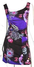 ROBERTO CAVALLI Purple Floral Print Jersey Cocktail Dress L