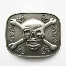 NEW SILVER PIRATE FLAG SKULL CROSSBONES 3-D BELT BUCKLE
