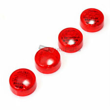 4 Relector Red License Plate Frame Screw Bolt Caps Covers for Car-Truck-Bike