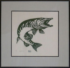 CATCH A MEMORY MUSKY FISHING FRAMED WOODCUT ART PRINT HAND SIGNED NUMBERED!!