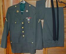 VINTAGE US ARMY DRESS UNIFORM JACKET PANT SET & RIFLE MARKSMAN PIN KOREA NAM ERA