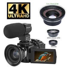 HD Digital 4K Camcorder 16X Zoom WiFi 48 MP Video Camera Night Vision Wide Angle