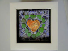 HEART MOSAIC handmade WHITE FRAMED valentine's day IDEAL GIFT love SHELL PIECES