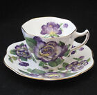 ROSINA QUEENS 5064 PURPLE YELLOW FLOWERS CUP AND SAUCER ENGLAND