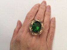 Designer Amy Russell Green Helenite Fancy Oval Bronze 14kt Plated Ring Size 7