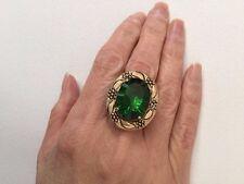 Designer Genuine Green Helenite Fancy Oval Bronze 14kt Plated Ring Size 7
