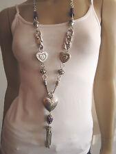 Modekette lang Damen Hals Kette Bettelkette Modeschmuck Silber Lila Herz BR153