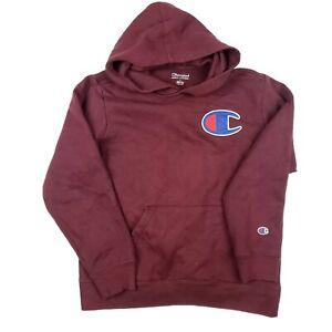 Champion Large Logo Kids Hoodie Burgundy Red Hooded Sweatshirt Logo Size LARGE