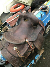 Vintage 15 inch Simco Western Saddle, Tooled, Skirts & Metal clad Stirrups