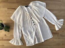 Vtg 70s/80s Sheer Pilgrim Collar Flutter Cuff Blouse Top Boho FRANCESS & RITA
