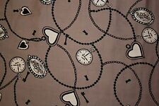 Browns Clocks Hearts Print #24 100% Cotton Lawn Apparel Sewing Fabric BTY