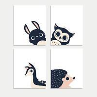 Children's Wall Art Prints, New Nursery Decor Prints, Peeking Animal Collection