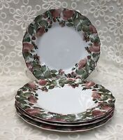 "Nikko Precious Set of 4 Salad / Dessert Plates 8 "" - Pink Roses  - Shabby Chic"